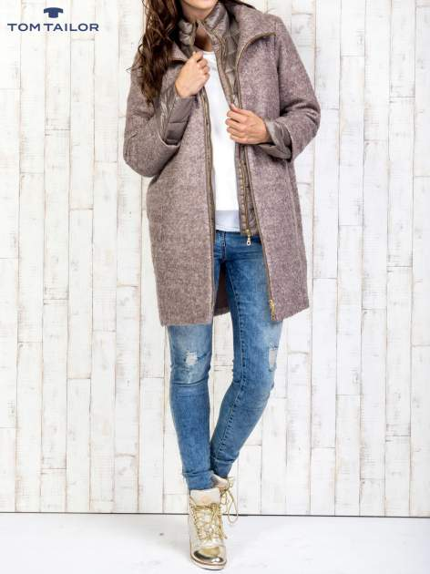 TOM TAILOR Brązowy dwuczęściowy płaszcz z kurtką pikowaną                                  zdj.                                  7