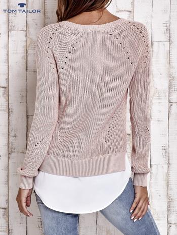 TOM TAILOR Brzoskwiniowy sweter z koszulą                                  zdj.                                  3