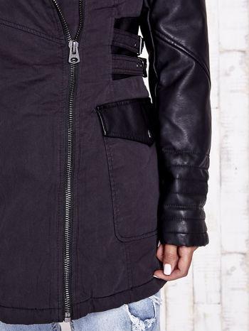 TOM TAILOR Czarna kurtka ze skórzanymi rękawami                                  zdj.                                  11