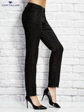 TOM TAILOR Czarne spodnie regular z przeszyciami                                  zdj.                                  3