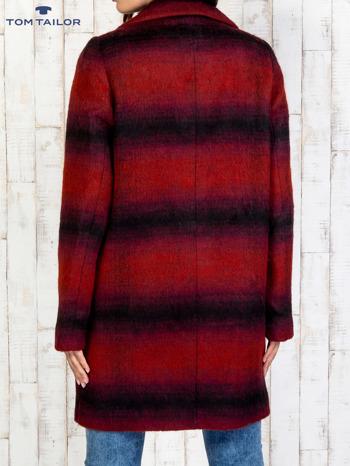 TOM TAILOR Czerwony jednorzędowy płaszcz boyfriend w kratę