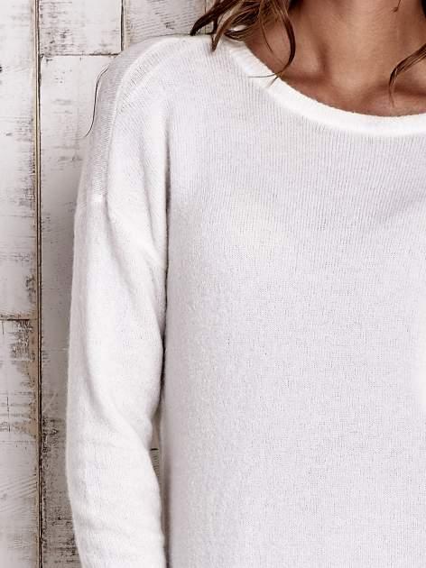 TOM TAILOR Ecru gładki wełniany sweter                                  zdj.                                  5