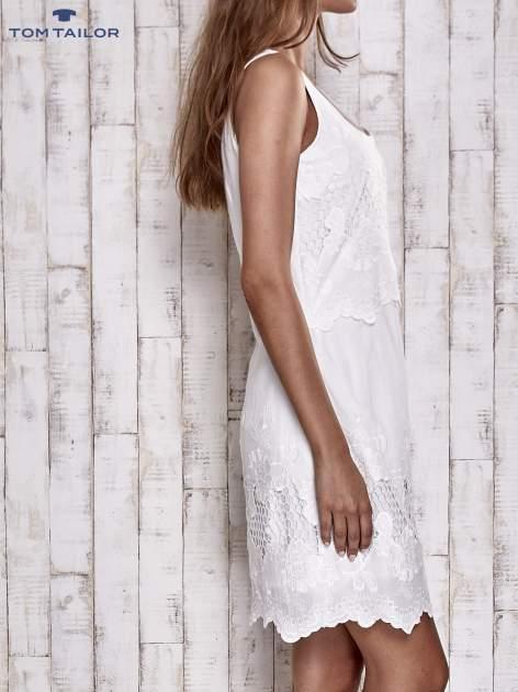 TOM TAILOR Ecru sukienka z koronką                                  zdj.                                  4