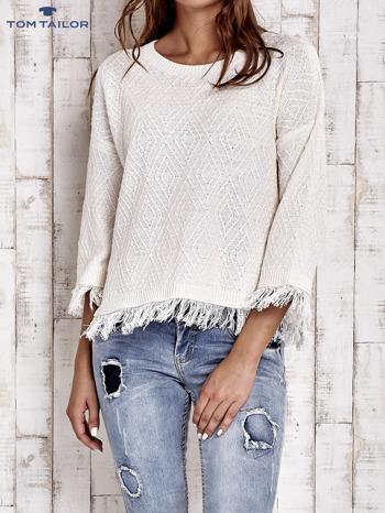 TOM TAILOR Ecru sweter z graficznym wzorem i frędzlami                                  zdj.                                  1