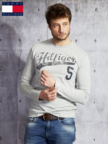 TOMMY HILFIGER Szara bluzka męska z  napisem                                   zdj.                                  5