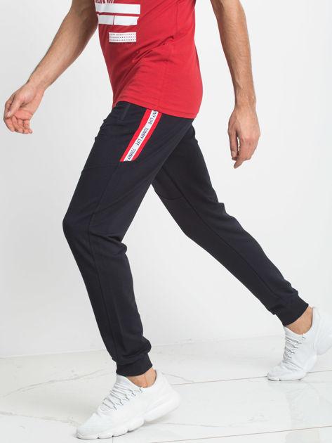 TOMMY LIFE Dresowe spodnie męskie granatowe                              zdj.                              1