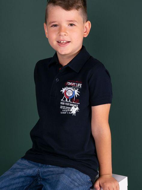 TOMMY LIFE Granatowa koszulka polo chłopięca