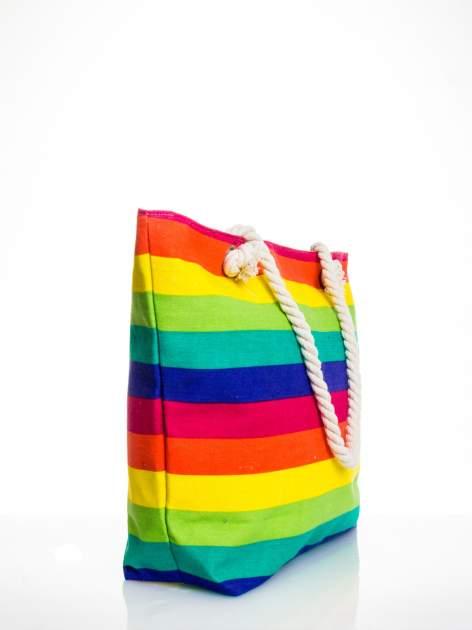 Tęczowa torba plażowa w pasy                                  zdj.                                  3