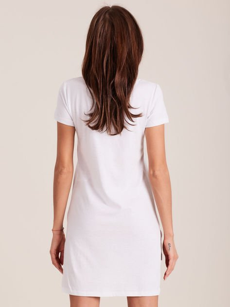 Tunika bawełniana SIMPLICITY z nadrukiem biała                              zdj.                              5