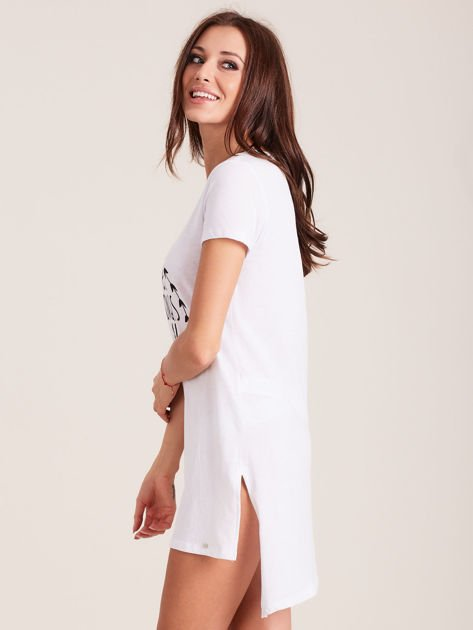 Tunika bawełniana biała z okrągłym nadrukiem                                  zdj.                                  2