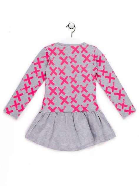 Tunika dla dziewczynki z nadrukiem szara