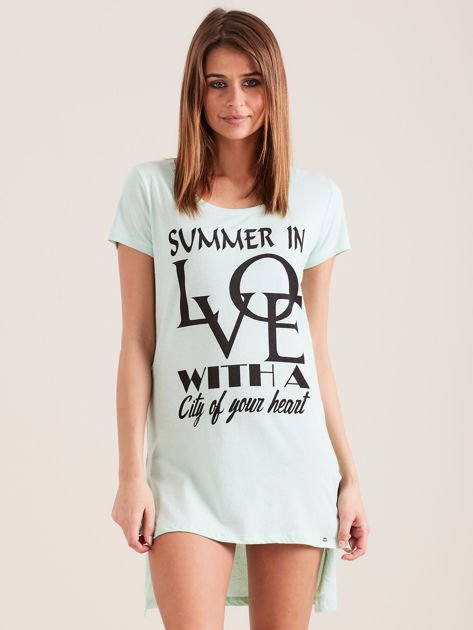 Tunika miętowa bawełniana SUMMER IN LOVE                                  zdj.                                  1