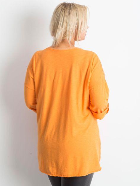 Tunika plus size z nadrukiem pomarańczowa                              zdj.                              2