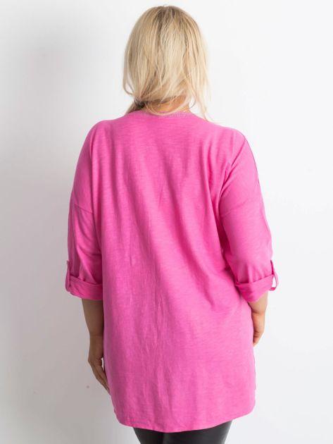 Tunika plus size z nadrukiem różowa                              zdj.                              2