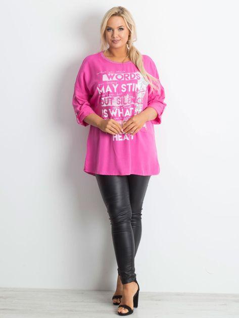Tunika plus size z nadrukiem różowa                              zdj.                              4