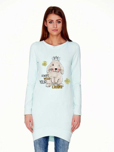 Tunika z królikiem i zabawnym napisem jasnozielona