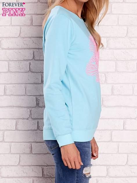 Turkusowa bluza z kolorowym nadrukiem                                  zdj.                                  4