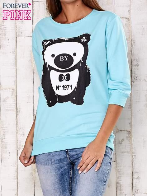 Turkusowa bluza z nadrukiem pandy