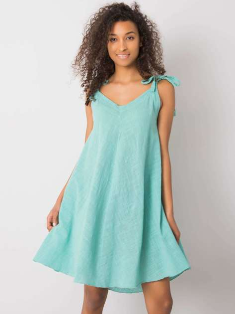 Turkusowa luźna sukienka na ramiączkach Evanthia OCH BELLA