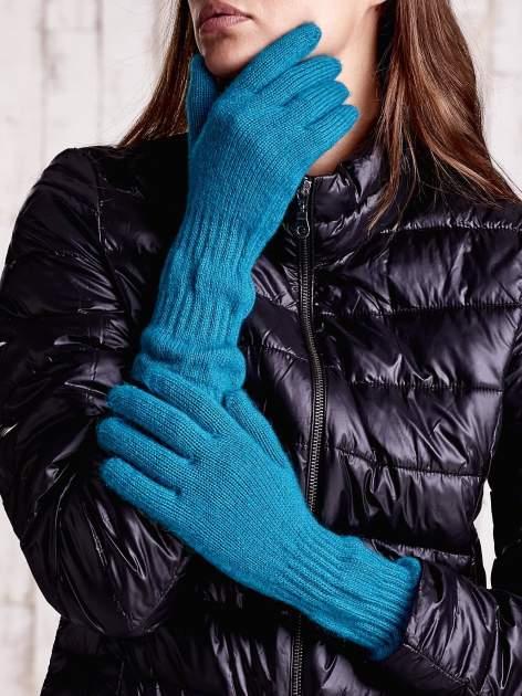Turkusowe długie rękawiczki z fantazyjnie przeszywanym ściągaczem