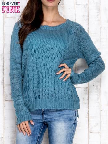 Turkusowy dzianinowy sweter o szerokim splocie                                  zdj.                                  1