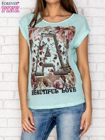 Turkusowy siateczkowy t-shirt z literą A z dżetami                                  zdj.                                  1