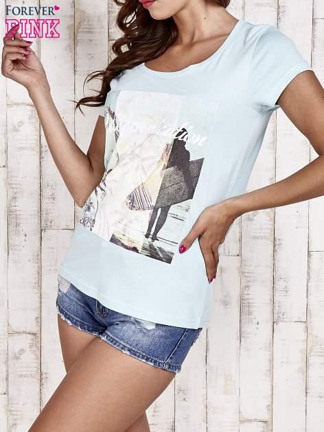 Turkusowy t-shirt damski z napisem CALIFORNICATION                              zdj.                              3