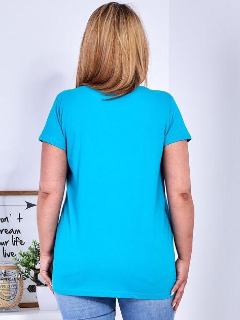 Turkusowy t-shirt z błyszczącą gwiazdą PLUS SIZE                              zdj.                              2