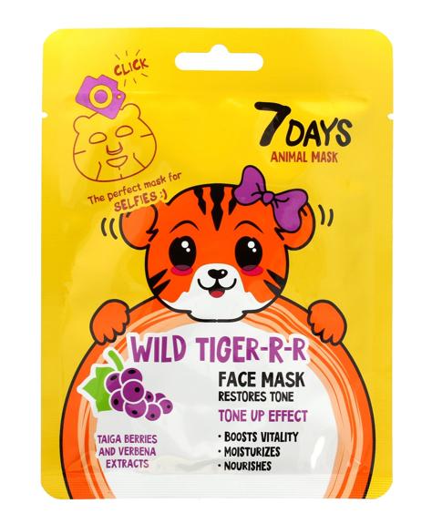 """VILENTA 7 Days Animal Maska na twarz w płacie rewitalizująca Wild Tiger -R-R 28g"""""""