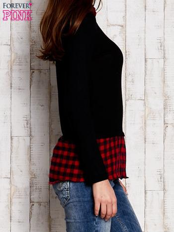 Warstwowy sweter z koszulą w kratę czarny                                  zdj.                                  3