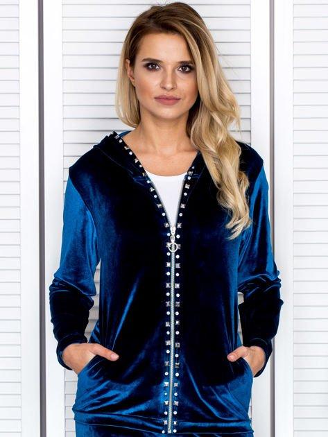 Welurowa bluza damska z diamencikami przy suwaku turkusowa                              zdj.                              1