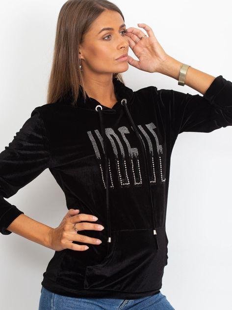 Welurowa bluza z kapturem i aplikacją czarna                              zdj.                              3