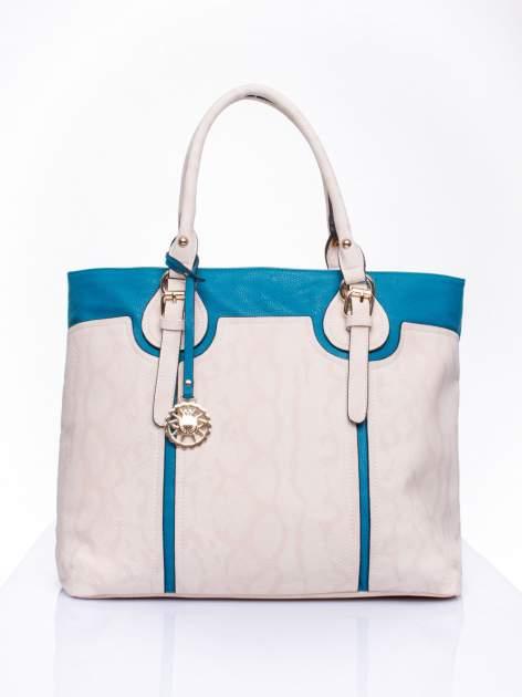 Wężowa torba shopper z niebieską wstawką                                  zdj.                                  1