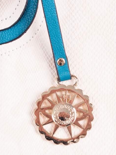 Wężowa torba shopper z niebieską wstawką                                  zdj.                                  5