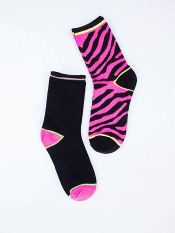 Wielokolorowe skarpetki damskie różowa zebra-czarny zestaw 2 pary                                  zdj.                                  6