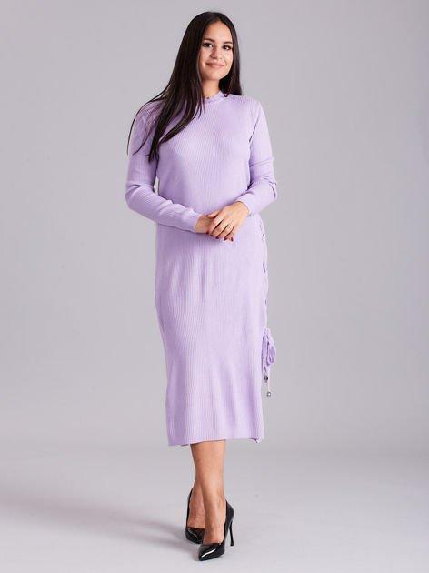 Wrzosowa sukienka dzianinowa z bocznym sznurowaniem                              zdj.                              1