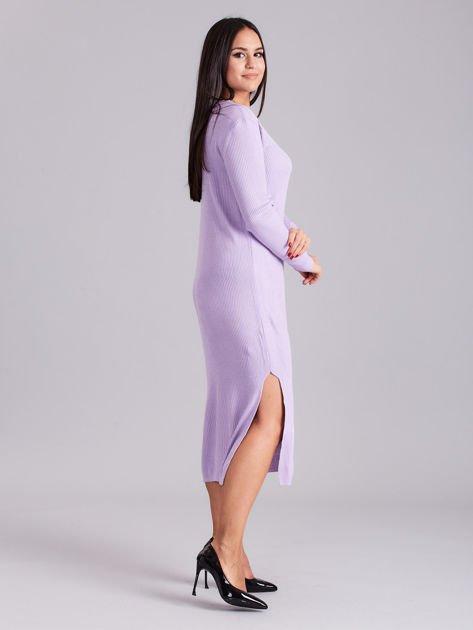 Wrzosowa sukienka dzianinowa z bocznym sznurowaniem                              zdj.                              3