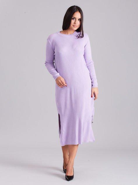 Wrzosowa sukienka dzianinowa z bocznym sznurowaniem                              zdj.                              4