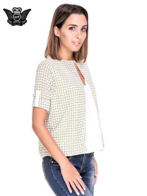 Wzorzysta żółta koszula o kroju narzutki                                  zdj.                                  5