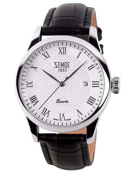 ZEMGE Zegarek damski srebrny na skórzanym czarnym pasku Eleganckie pudełko prezentowe w komplecie