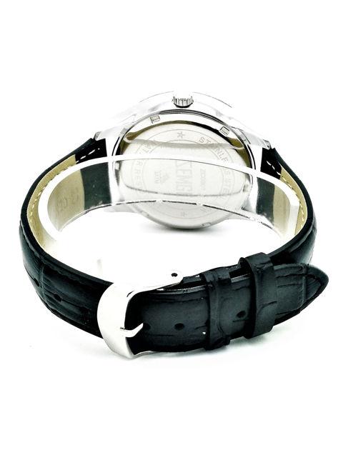 ZEMGE Zegarek męski srebrny na skórzanym czarnym pasku Eleganckie pudełko prezentowe w komplecie                              zdj.                              3