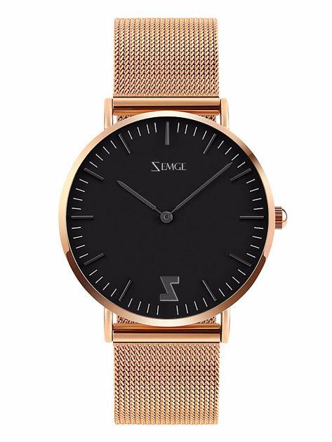 ZEMGE Zegarek unisex czarno-złoty na bransolecie typu MESH Eleganckie pudełko prezentowe w komplecie                              zdj.                              1