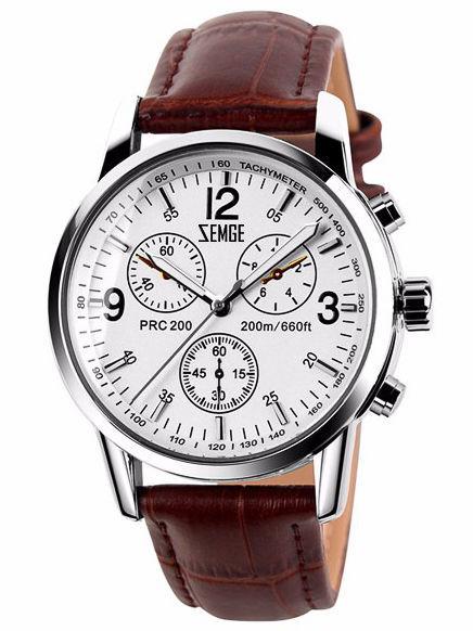ZEMGE Zegarek unisex srebrny na skórzanym brązowym pasku Eleganckie pudełko prezentowe w komplecie                              zdj.                              1