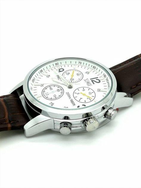ZEMGE Zegarek unisex srebrny na skórzanym brązowym pasku Eleganckie pudełko prezentowe w komplecie                              zdj.                              2