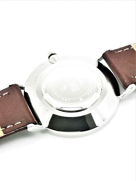ZEMGE Zegarek unisex srebrny na skórzanym brązowym pasku Eleganckie pudełko prezentowe w komplecie                              zdj.                              3