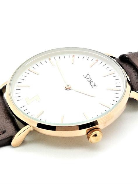 ZEMGE Zegarek unisex złoty na skórzanym brązowym pasku Eleganckie pudełko prezentowe w komplecie                              zdj.                              2
