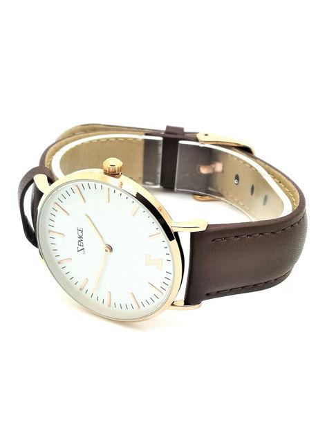 ZEMGE Zegarek unisex złoty na skórzanym brązowym pasku Eleganckie pudełko prezentowe w komplecie                              zdj.                              4