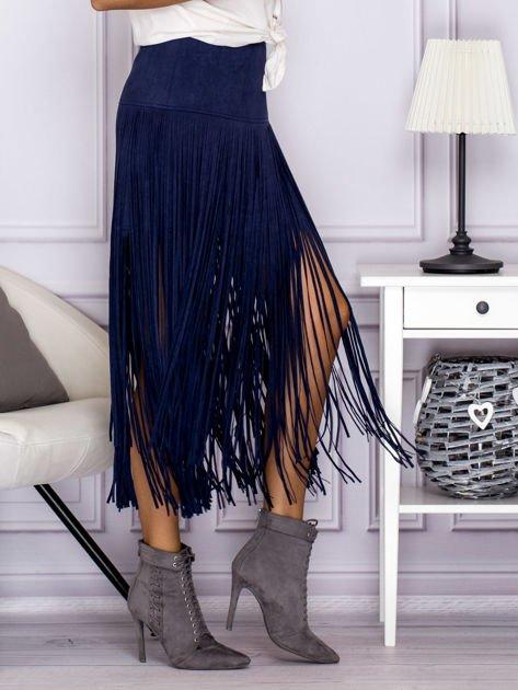 Zamszowa midi spódnica boho z frędzlami ciemnoniebieska                                  zdj.                                  3