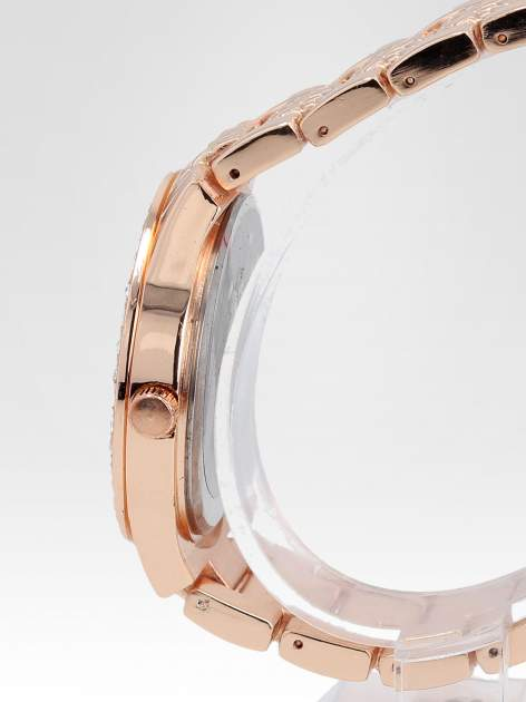 Zegarek damski na bransolecie z cyrkoniową kopertą z różowego złota                                  zdj.                                  3