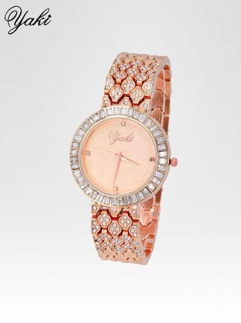 Zegarek damski na bransolecie z kryształową kopertą z różowego złota                                  zdj.                                  2